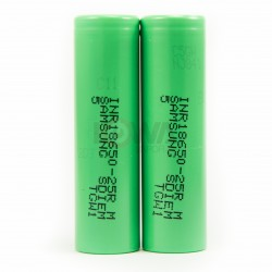 Samsung INR18650-25R 18650 2500mAh 3.6v Rechargeable Flat Top Batteries (X2)